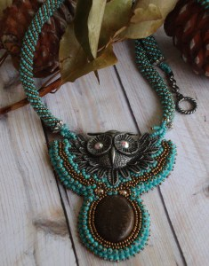owl beaded necklace