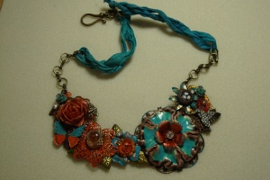 turtuoise orange necklace