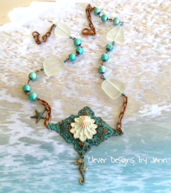 Clam Shell Seahorse Necklace