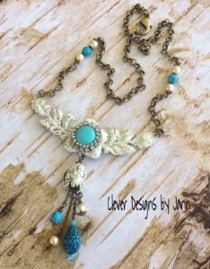 turquoise and ice resin necklace
